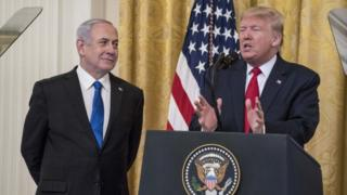 Benjamin Netanyahu and Donald Trump make joint statement in the White House - 28 January