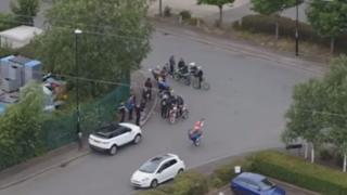 Biker doing a wheelie