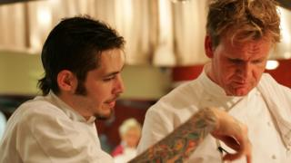 Michael and Gordon Ramsay in the final of Hell's Kitchen