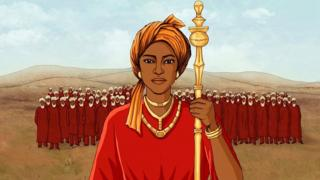 Ilustración de la reina Amina delante de su ejército