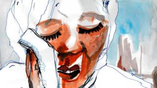 Noura crying (illustration)