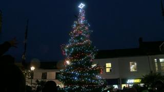 Camborne's new Christmas tree is switched on