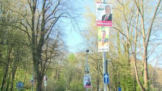 Posters such as these ones in south Belfast might not be displayed in Lagan Valley during the forthcoming election campaign