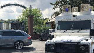Police outside Shandon Park Golf Club following the discovery of a bomb in June