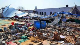 A general view of the debris of a building where at least 24 people were killed when a wall collapsed at a wedding in the Bharatpur district of Rajasthan, India, 11 May 2017.