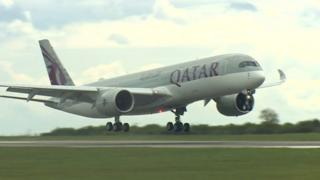 The first passenger flight from Doha lands at Cardiff