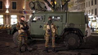 Belgian soldiers patrol in central Brussels