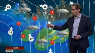 A weather forecast on Iceland's RUV television