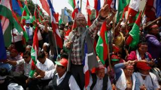Madhesi groups protesting against the constitution in Kathmandu