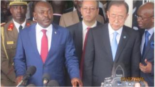 Prezida Nkurunziza ari kumwe n'umunyamabanga mukuru wa Onu Ban Ki Moon