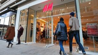 Shoppers at H&M store