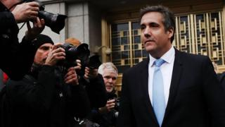 "President Donald Trump""s long-time personal attorney Michael Cohen exits a New York court on April 16, 2018 in New York City."