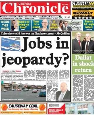 Coleraine Chronicle front page Friday 27th Jan 2017