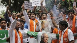 File photo of Shiv Sena protesting against Pakistan in Delhi on Saturday, Aug. 22, 2015