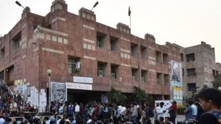 JNU students protest against the arrest of JNUSU President Kanhaiya at JNU campus, on February 29, 2016 in Delhi, India