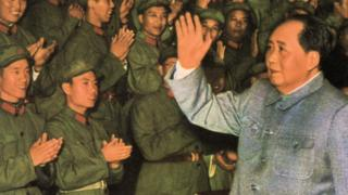 Mao Zedong, Chinese Communist revolutionary and leader, c1960s-c1970s(?). Mao acknoledging the applause of a group of People's Liberation Army soldiers.