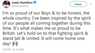 A tweet from Lewis Hamilton