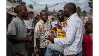 Un membre de Lucha en campagne en faveur de son mouvement à Goma en 2015