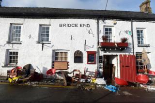 Flood damage caused by Storm Dennis to the Bridge End Inn on Bridge Street, Crickhowell