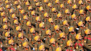 India's Sikh Light Infantry Regiment marches during the 71st Republic Day celebrations in New Delhi, India, 26 January 2020.