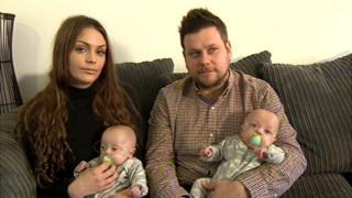 Mum Talia and dad Oliver Keates with twin boys Ashley and Joe