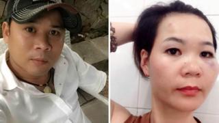Ông Phan Hùng (trái) đưa lên mạng đoạn video chiếu cảnh đánh bà Lê Mỹ Hạnh