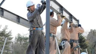 Construction workers in Japan (file picture)