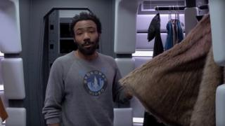 Donald Glover shows off his cape closet in the Millennium Falcon