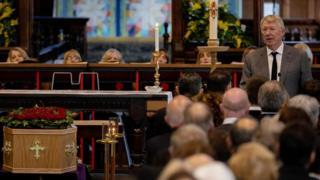 Sir Alex Ferguson at Eric Harrison's funeral