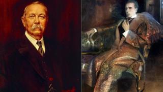 Sir Arthur Conan Doyle derecha y Sherlock Holmes izquierda