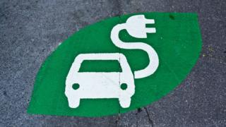 Green electric car charging sign painted on a road
