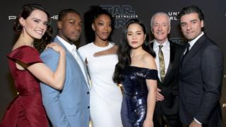 Daisy Ridley, John Boyega, Naomi Ackie, Kelly Marie Tran, Anthony Daniels and Oscar Isaac