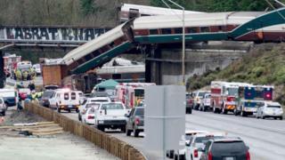 Scène du déraillement d'un train à Tacoma, en décembre (illustration).