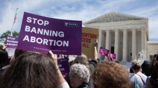 Pro-choice campaigners outside Supreme Court