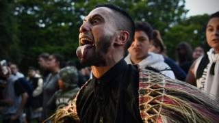 New Zealand mourner performing the Haka