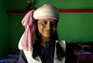 Radhika with her pink scarf