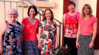 Elizabeth Coveney and the team from Velindre Cancer Centre in Sierra Leone