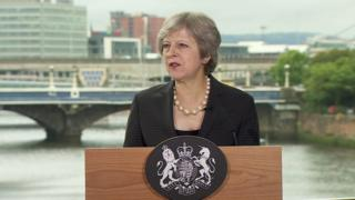 Theresa May is giving a speech in Belfast