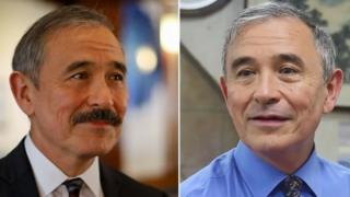 Harry Harris before and after his visit to the barbershop to have his moustache shaved off