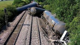 Derailed freight train near Langworth