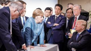 Photo from the G7 summit of the leaders, tweeted by the German government on 9 June 2018