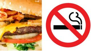 Burger and no smoking sign