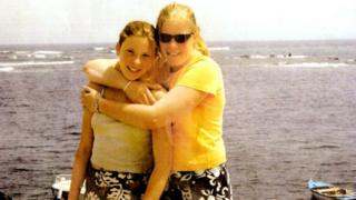 Milly and Gemma on holiday in Lanzarote in 2001