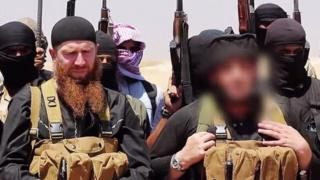Tarkhan Batirashvili, also known as Omar Shishani, appearing in a video with other militants in Syria