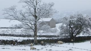 A snow-covered house and field in Sedbergh, in Cumbria