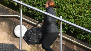 Louise Griffiths arriving at Newport Crown Court
