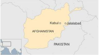 Map of Afghanistan showing Kabul and Jalalabad - October 2015