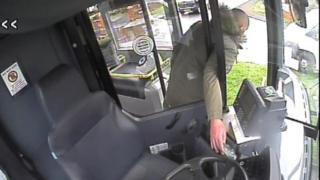 CCTV of man stealing bus takings