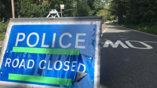 Goldings Hill, Loughton with police sign