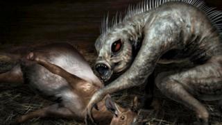 Ilustração de chupa-cabra com vítima